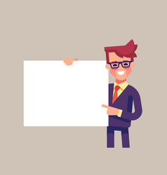Man holding blank sheet and pointing finger to it vector