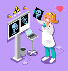 Medical doctor radiology icon isometric people vector