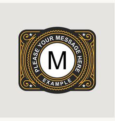 Modern emblem badge monogram template luxury vector