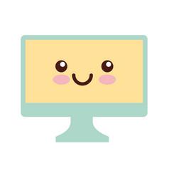 Monitor computer desktop kawaii character vector