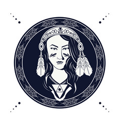 Native american woman with feathers bandana in vector