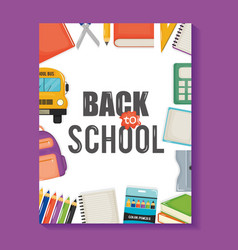 notebook sheet with back to school and set icons vector image