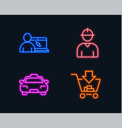Online education taxi and engineer icons vector