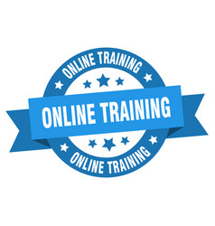 online training ribbon online training round blue vector image