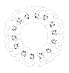 pansy flower wreath outline vector image