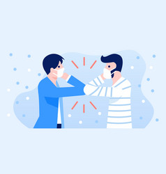people greeting with elbow bump for prevent co vector image