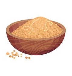 Pile refined brown sugar in bowl as sweetener vector
