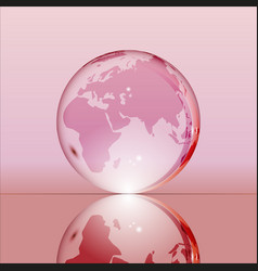 pink shining transparent earth globe vector image