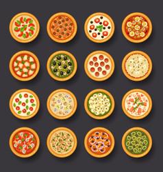 Pizza icon set vector