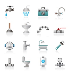 plumbing objects and tools equipment icons vector image