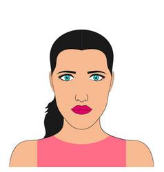 portrait a woman face girl vector image