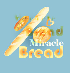 poster with delicious bread and rolls vector image