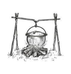Pot on campfire sketch cooking in a cauldron vector