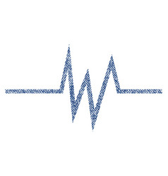 pulse signal fabric textured icon vector image