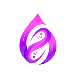 purple leaf and water drop logo template vector image