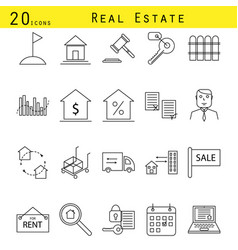 real estate agency icon set vector image vector image