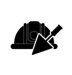 safety helmet and trowel icon vector image