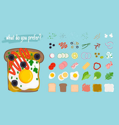 sandwiches cartoon elements vector image