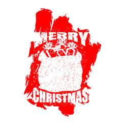 santa claus red bag in grunge style spray and vector image