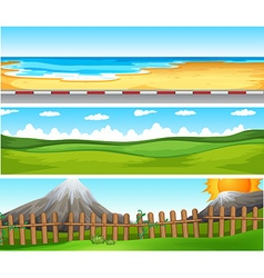 Scenes with ocean and green field vector