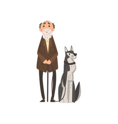 Senior man walking with his pet dog vector