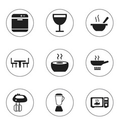 Set of 9 editable restaurant icons includes vector