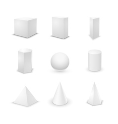 Set of basic elementary geometric shapes blank 3d vector image