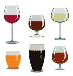 set of drinks in glasses vector image