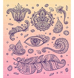 Set of Ornamental Boho Style elements on the vector