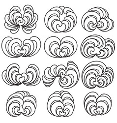 set of twelve decorative floral curls vector image