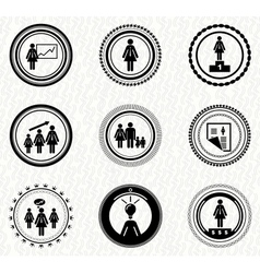 set of vintage retro badges business woman vector image