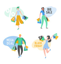 set people with shopping bags and presents vector image