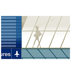 Silhouette girl airport vector
