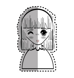 Sticker anime cute beautiful woman vector