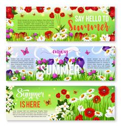 Summer flower greeting banner set design vector