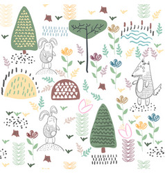 Summer forest seamless pattern with cute animals vector