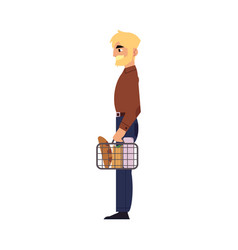 supermarket concept element of man with shopping vector image