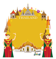 Thailand landmarks traditional dance frame vector