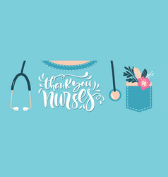 thank you nurses lettering text vector image