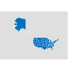 usa mercator map - high detailed blue map with vector image