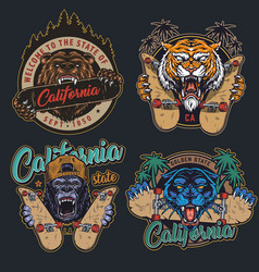 Vintage angry animals and skateboarding prints vector