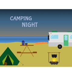 Vintage camping night concept Retro caravan vector