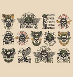 Vintage colorful military labels set vector
