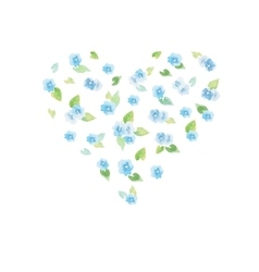 Watercolor delicate flower heart vector image