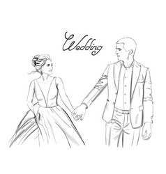 wedding couple line art lovely couple vector image