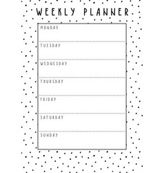 weekly planner in cute style with polka dot vector image