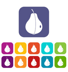Whole pear icons set flat vector