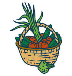 Wicker basket with vegetables vector