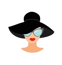 Woman in black hat and sun glasses avatar people vector