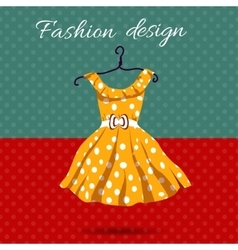 Women dress polka dot with vector